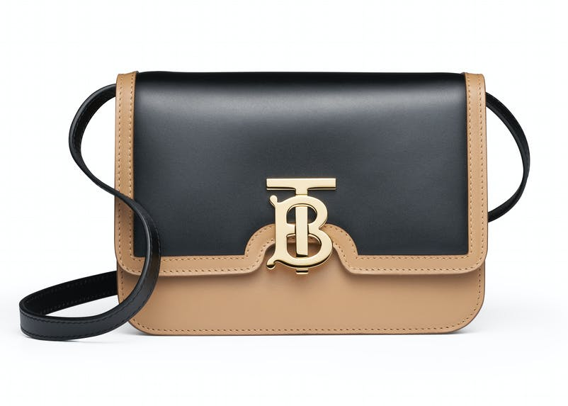 Light camel:black smooth leather bio colour TB bag with leather strap (1).jpg