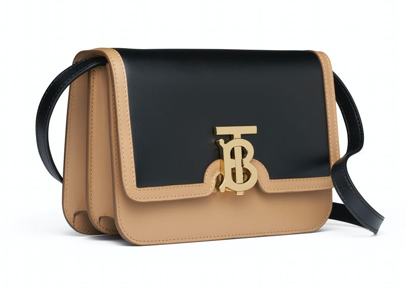 Light camel:black smooth leather bio colour TB bag with leather strap (2).jpg