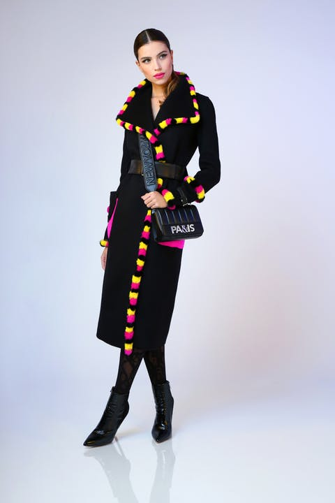Black wool coat featuring multi-colour fur trim and contrast fuchsia pockets. Black quilted nappa leather flap crossbody 'Paris' bag, black suede and crinkle leather Empire ankle boots and 'Paris' belt.