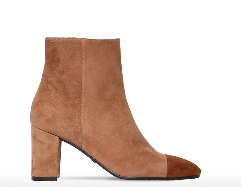 Suede in a lovely soft color: Ankle boots from Stuart Weitzman.