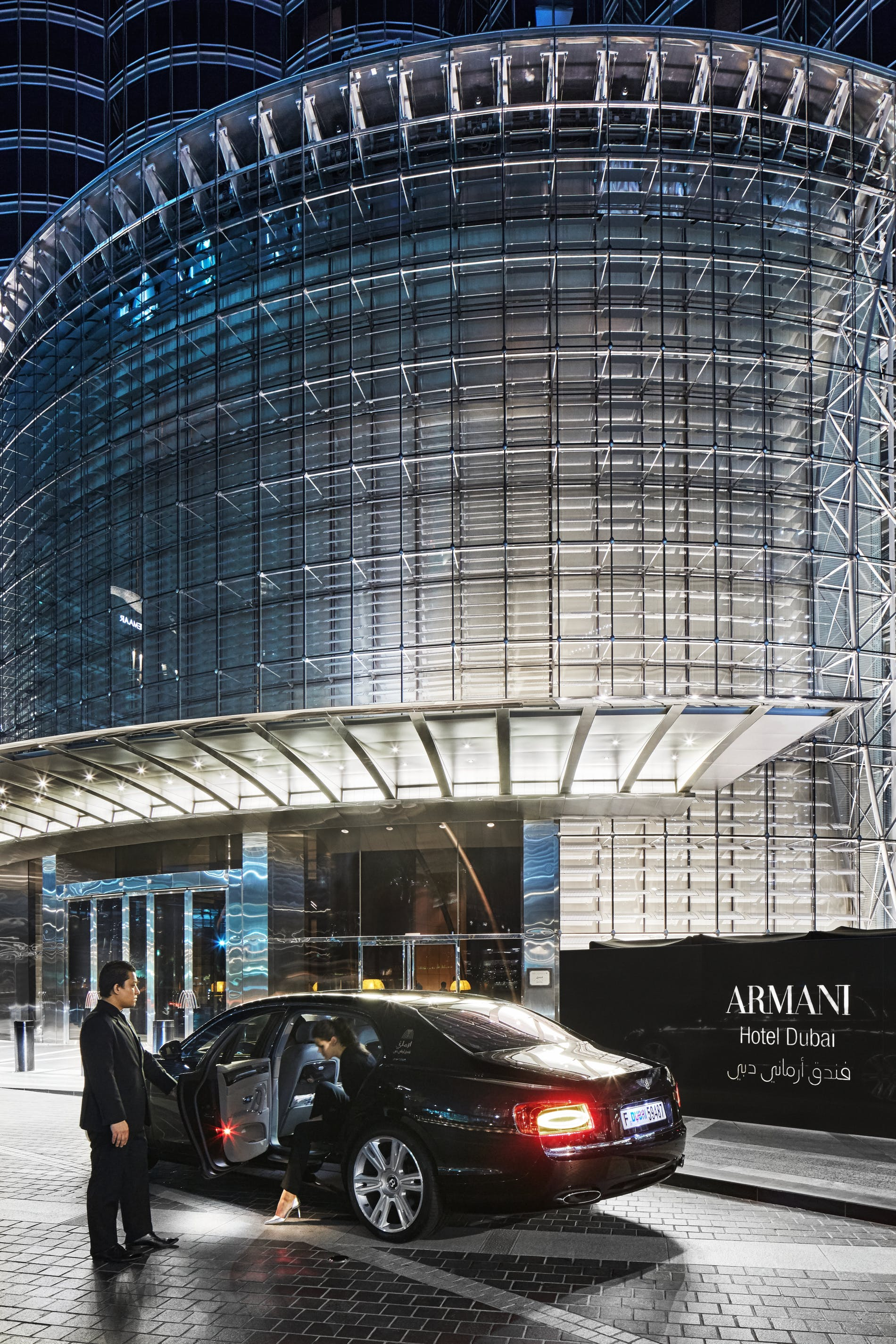 1572131531347129 armani hotel dubai entrance bentley
