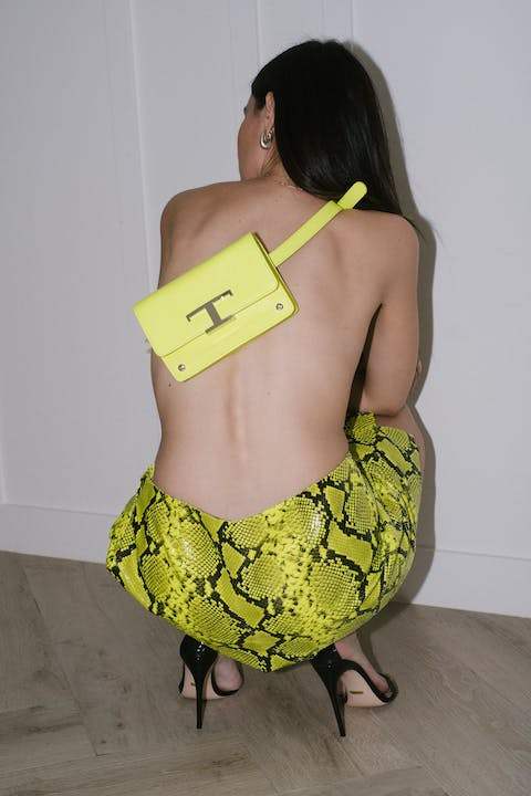 Yellow Snakeskin Skirt by The Webster, Yellow bag by Tod's