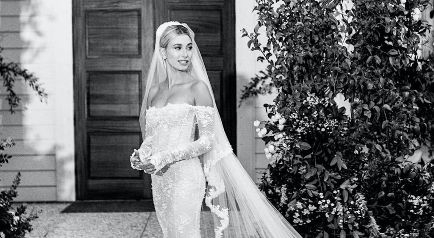 Personalised Lace Hailey Bieber's OFF White Wedding Dress