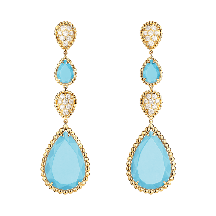 Boucheron PSD Serpent Bohäme pendant earrings, XS and L motifs, set with four turquoises and paved with diamonds, in yellow gold.png