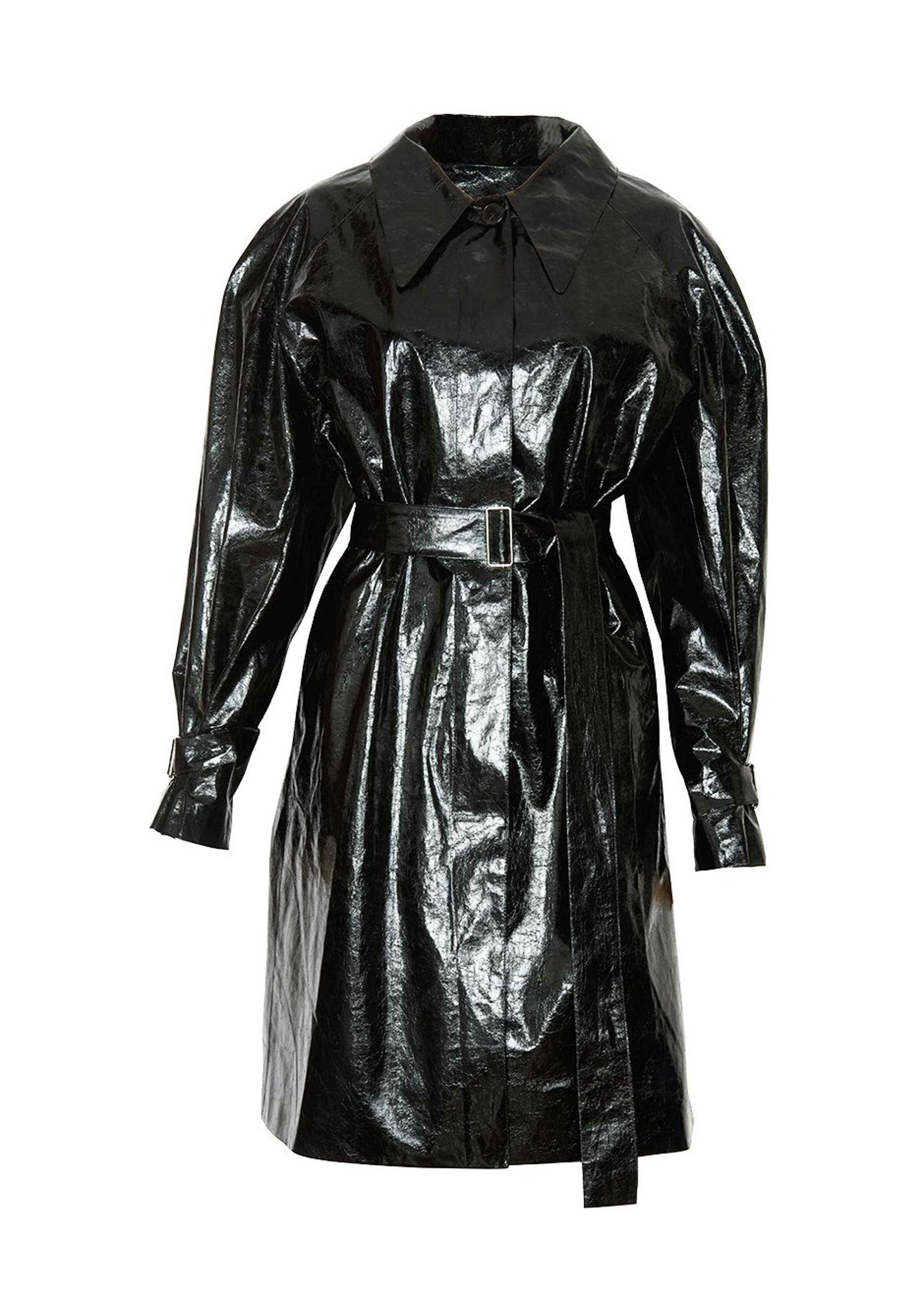 1574940840719114 frankie black patent creased belted overcoat
