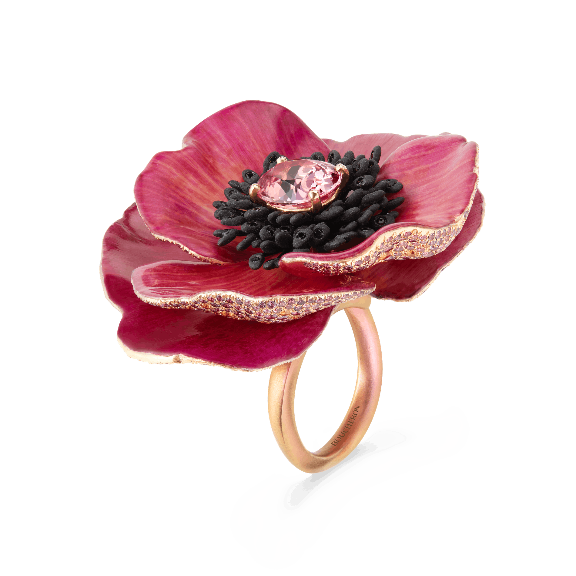 1576509917537140 boucheron nature triomphante ring fleur eternelle with natural petals set with a 4.16 ct oval padparadscha sapphire paved with black spinels multi colored sapphires on titanium and pink gold2