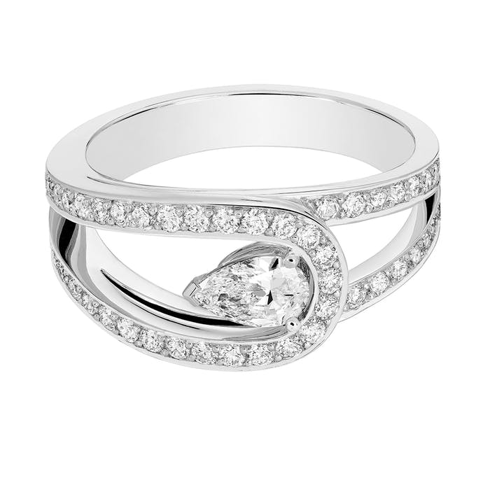 Lovelight platinum paved engagement ring with a pear cut white diamond.JPG