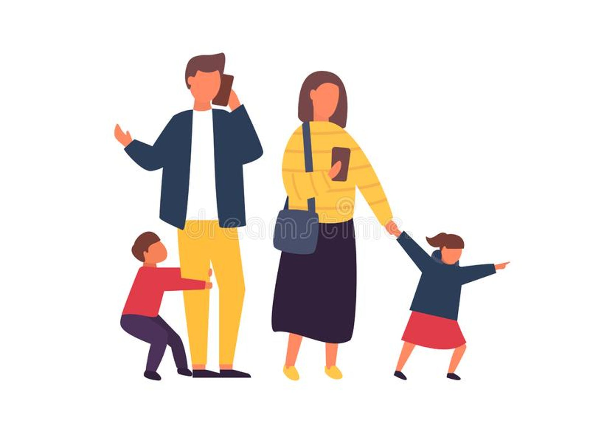 1626584285151334 busy parents mobile smartphones family kids people vector illustration children demanding attention adults 127010108